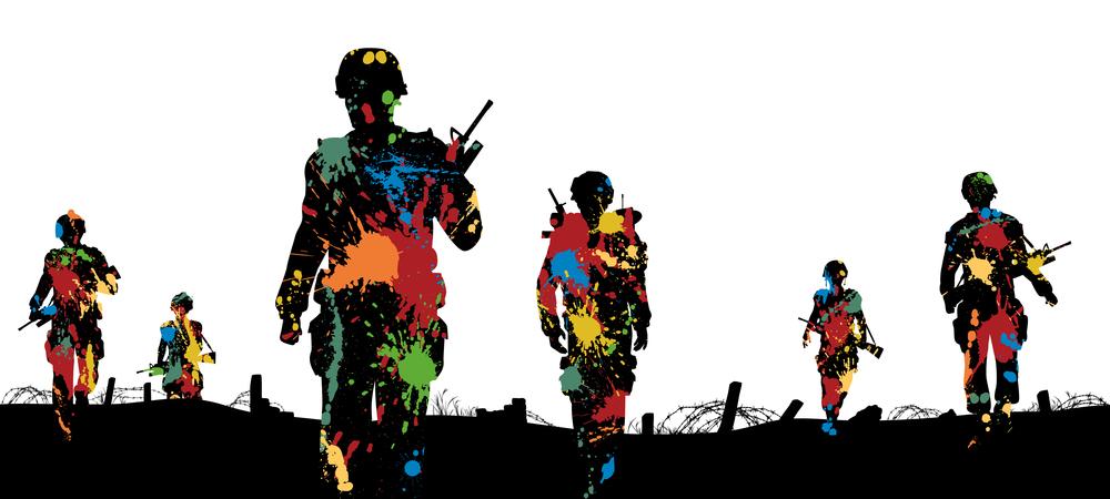 Editable vector illustration of paint splattered soldiers walking on patrol