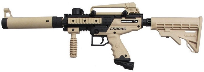 a black and beige Action Village Tippmann paintball gun