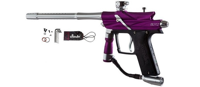 a black and purple Azodin Blitz HPA paintball gun with a silver firing tube