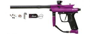 a black and purple Azodin Kaos HPA paintball gun
