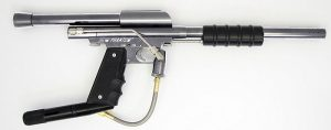 a silver and black SILVER Phantom Stock Class Pump Paintball Gun +Vertical ASA + 45 Grip Frame SC stock class