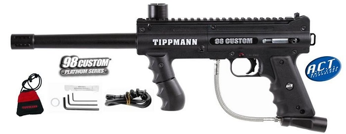 a sturdy black Tippmann 98 custom platinum paintball gun