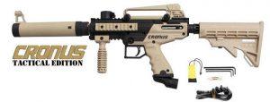 a black and beige Tippmann Cronus tactical beginner paintball gun