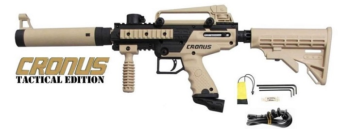 a black and beige Tippmann Cronus tactical beginner paintball gun