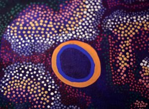 artistic painting with colorful dots in purple hues