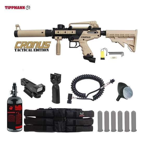 MAddog Tippmann Cronus Tactical HPA Red Dot Paintball Gun Package