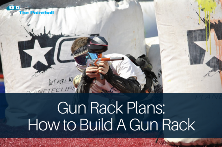gun rack plans: paintball player shooting an opponent