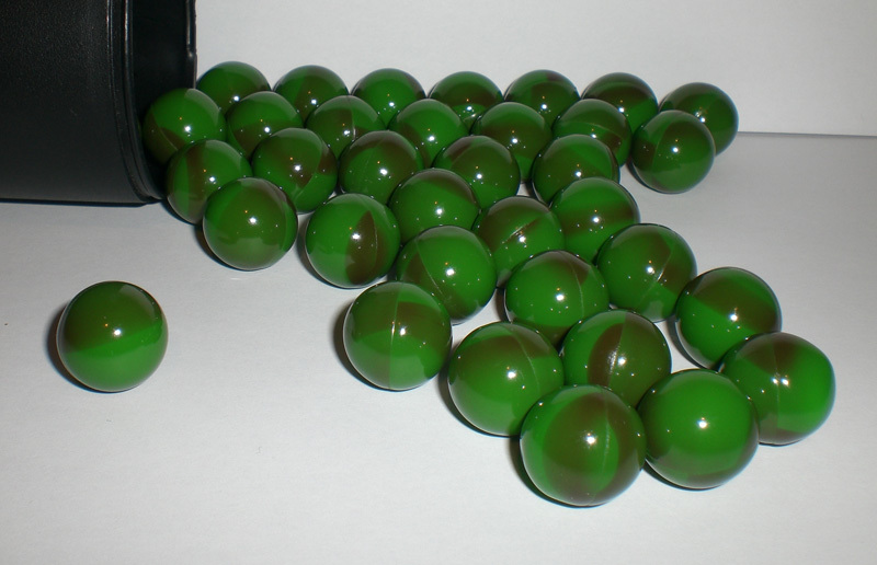 plenty of paint balls on color green