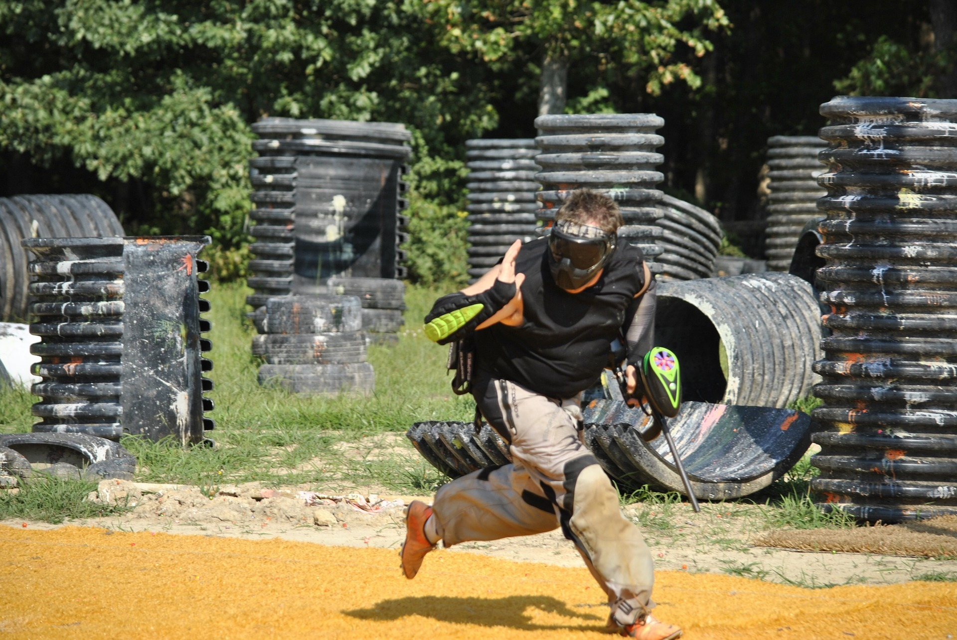 Paintball Gun Shooting Player is Running