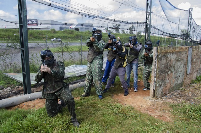 men playing paintball games