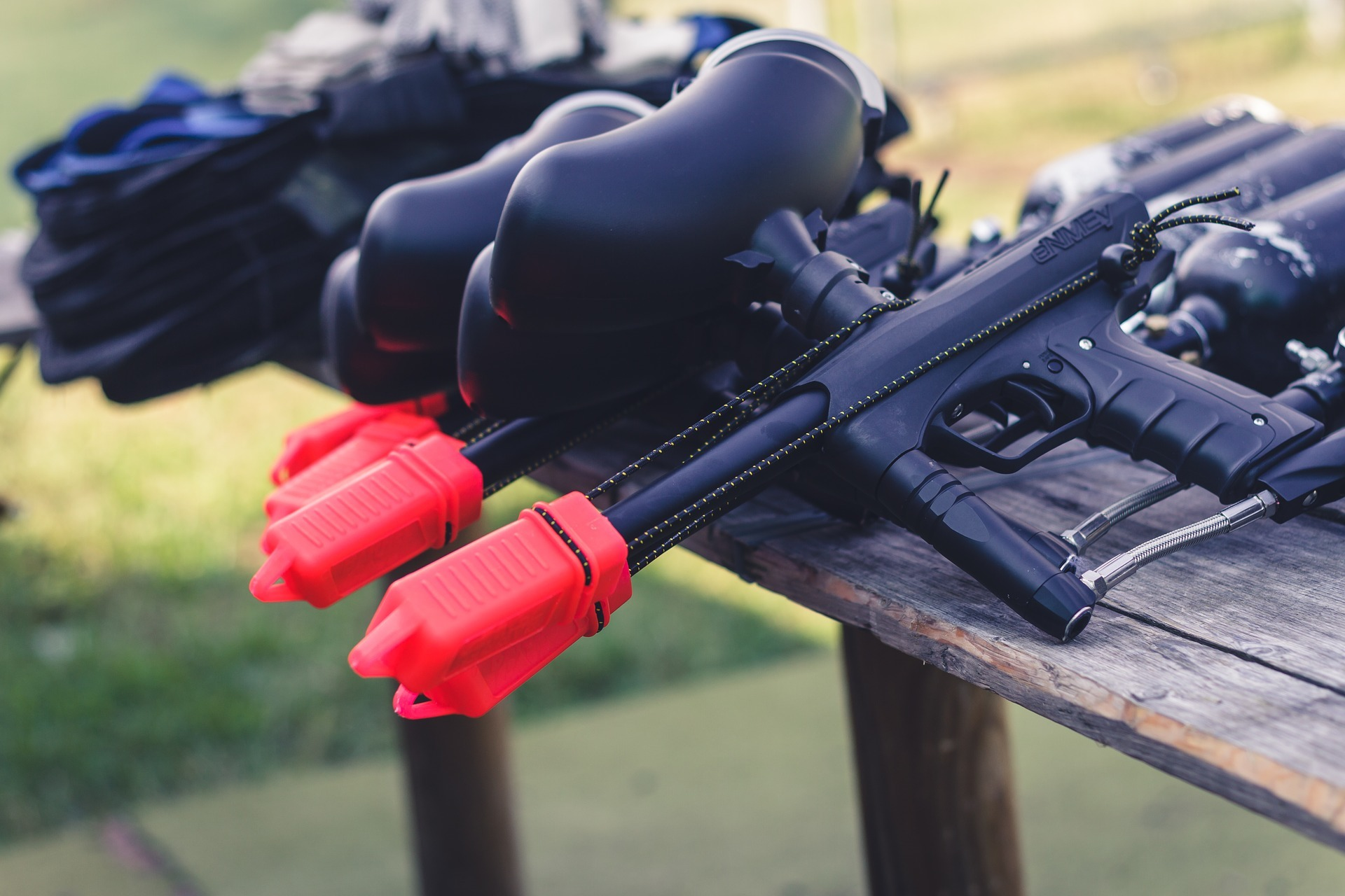 Paintball Weapon placed at the top of the Table