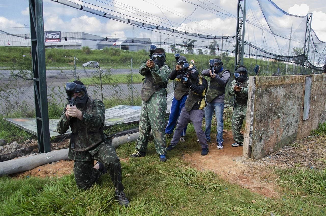 Group of armies playing paintball